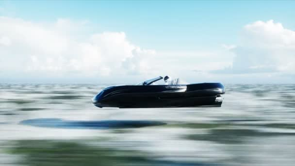 Futuristic létající auto s 3d modelu žena rychlou jízdu v poušti. Koncept budoucnosti. Realistické animace 4 k