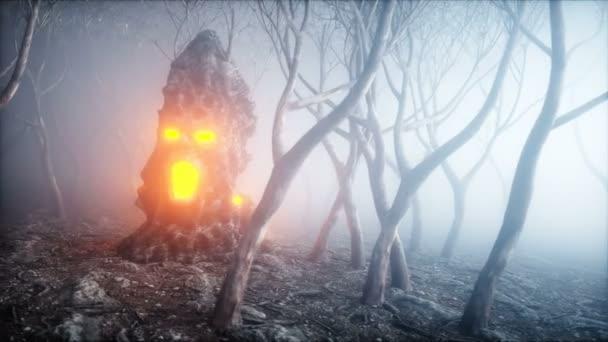 kámen, křičící head v lese noční mlhy. Strach a hrůza. Mistyc koncept Halloweenu. Realistické animace 4 k