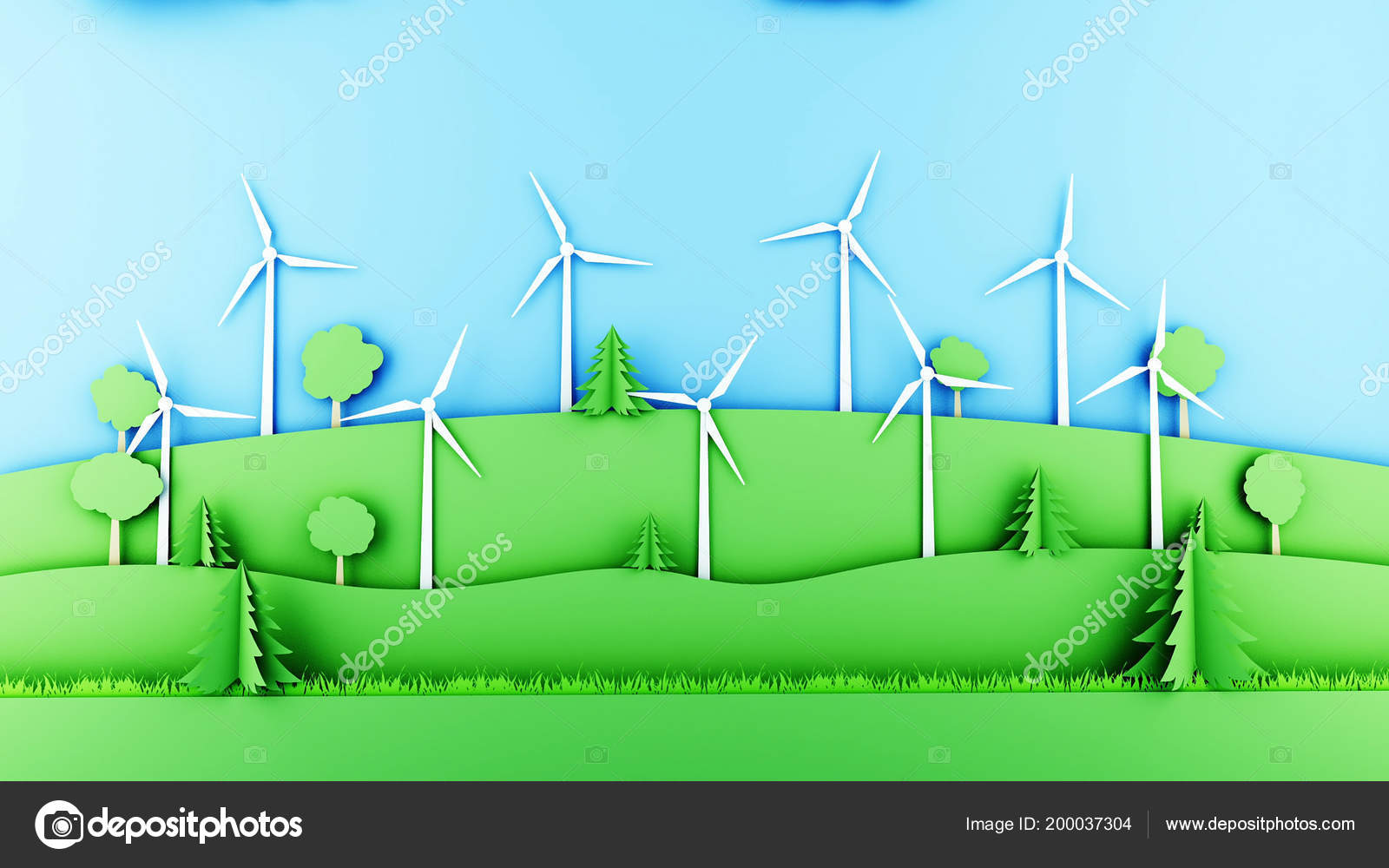 Paper Cartoon Landscape With Wind Power Turbines Ecological Concept Turbine Diagram 3d Rendering Stock