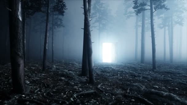 glowing door in fog night forest light portal mistic and magic