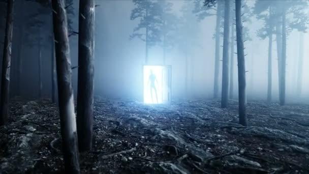 Cizinec v lese noční mlhy. Lehké portálové dveře. UFO konceptu. Realistické animace 4 k.