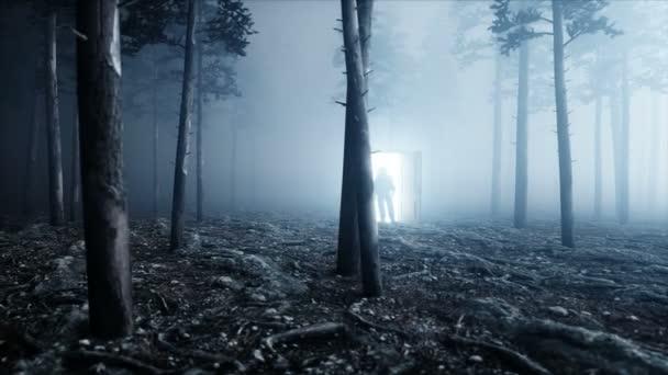 Astronaut v lese noční mlhy. Lehké portálové dveře. přistávací místo. 4 k animace.