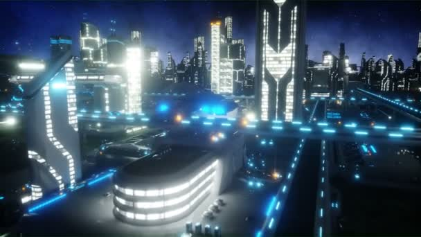 Flight over night futuristic city. Concept of future. Realistic 4K animation.