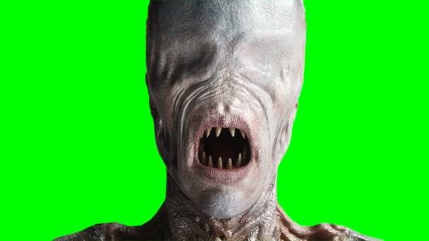 Scary, horror mostro. Concetto di paura. Schermo verde isolare. Animazione realistica di k 4.