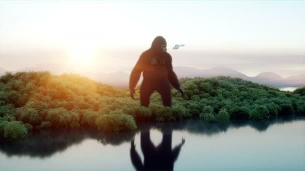 Riesigen Gorilla und Hubschrauber im Dschungel. Prähistorische Tiere und Monster. Realistisches Fell und Animation. 4k Rendern.