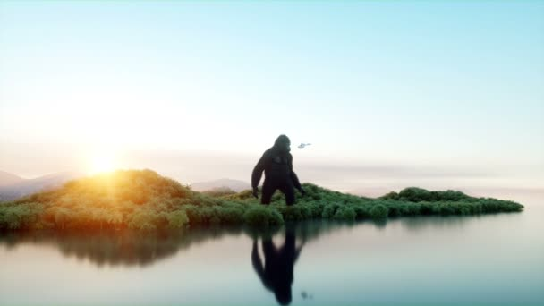 Giant gorilla and helicopter in jungle  Prehistoric animal and monster   Realistic fur and animation  4K render