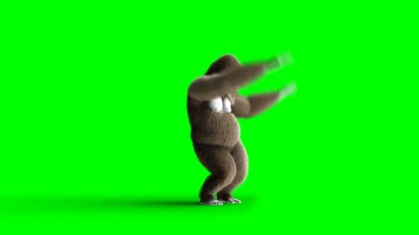 Funny hnědé gorilí tanec. Super realistické kůže a vlasů. Fabion 4k animaci.
