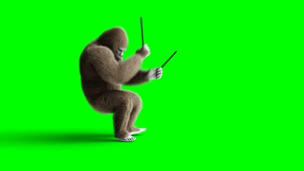 Vicces barna gorilla játék a dob. Super reális szőrme és a haj. Zöld képernyő 4k animáció