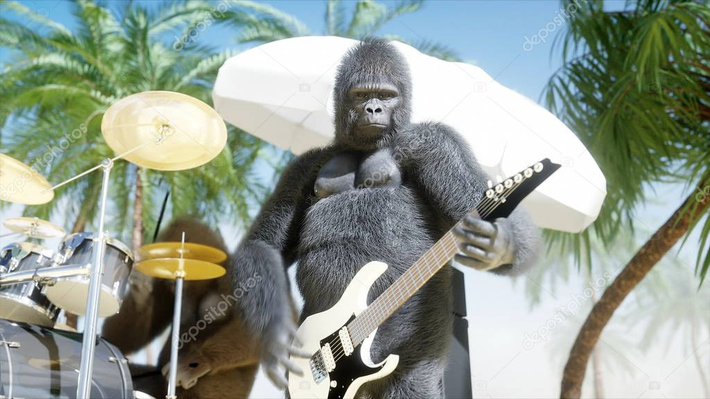 Funny gorillas and monkeys play on guitar and drums. Rock party on sunny seaside. 3d rendering.