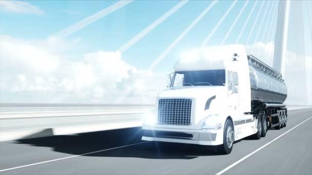 3D model cisternového tankeru, přívěsu, náklaďák na dálnici. Velmi rychlá jízda. Realistická 4k animace. Ropná koncepce.