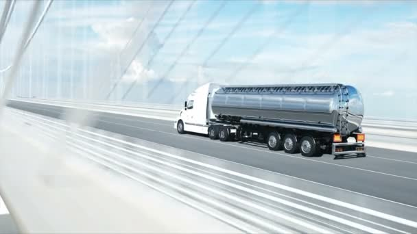 3d model of gasoline tanker, trailer, truck on highway. Very fast driving. Realistic 4k animation. Oil concept.