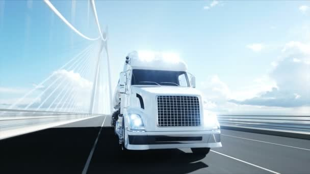 3D-Modell von Benzintanker, Anhänger, LKW auf der Autobahn. sehr schnelles Fahren. realistische 4k Animation. Ölkonzept.