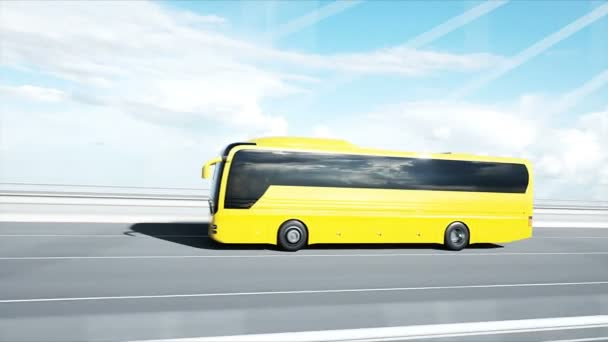 3d model of bus on bridge. Very fast driving. 4k animation.