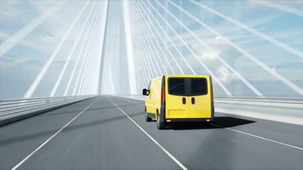 3D model doručovací vůz na můstku. Velmi rychlá jízda. 4k animace.