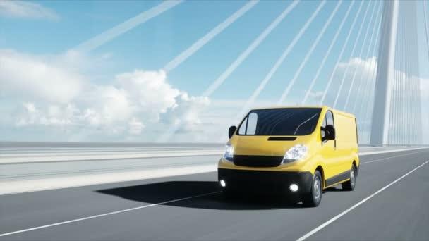 3D-Modell des Lieferwagens auf der Brücke. sehr schnelles Fahren. 4k-Animation.
