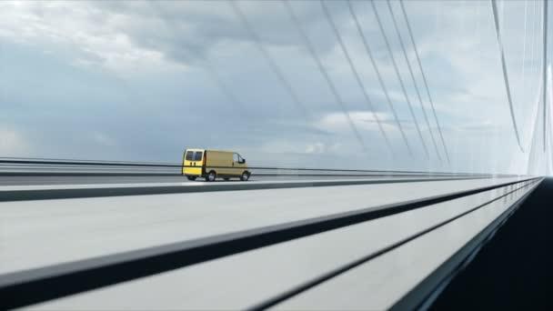 3D-s modell a szállítási autó a hídon. Nagyon gyors vezetés. 4k animáció.