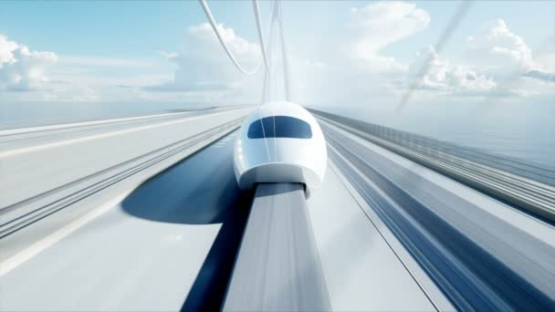 3D-Modell einer futuristischen Personenbahn auf der Brücke. sehr schnelles Fahren. Zukunftskonzept. realistische 4k-Animation.