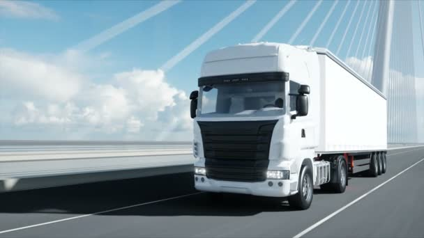 3D modell fehér teherautó a hídon. 4k animáció.