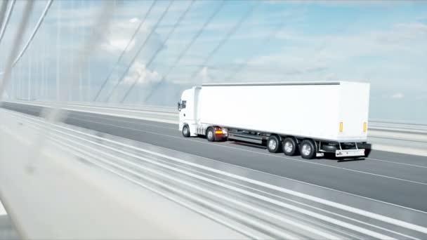 3D model bílého vozu na můstku. 4k animace.