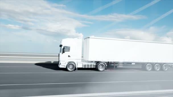 3D-Modell eines weißen Lastwagens auf der Brücke. 4k-Animation.