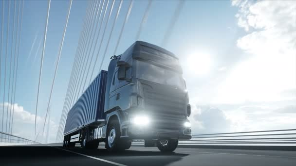 3D model náklaďáku na můstku. 4k animace.