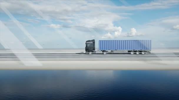 3d model of truck on the bridge. 4k animation.