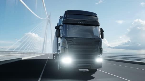 3D-Modell eines Lastwagens auf der Brücke. 4k-Animation.