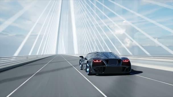 3D modell fekete futurisztikus autó a hídon. Nagyon gyors vezetés. A jövő fogalma. Reális 4k animáció.