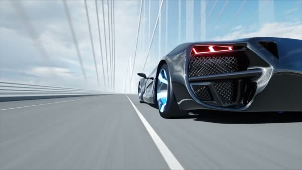 3d model of black futuristic car on the bridge. Very fast driving. Concept of future. Realistic 4k animation.