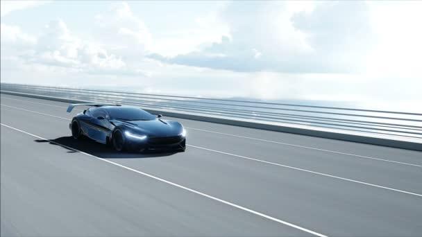 3D model černého futuristického auta na můstku. Velmi rychlá jízda. Koncept budoucnosti. Realistická 4k animace.