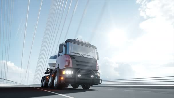 3d model of concrete mixer truck on bridge. Very fast driving. Building and transport concept. Realistic 4K animation.