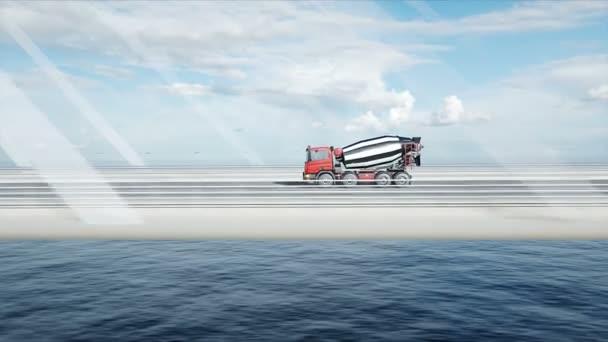 3D-Modell eines Betonmischer-LKW auf einer Brücke. sehr schnelles Fahren. Bau- und Verkehrskonzept. realistische 4k-Animation.