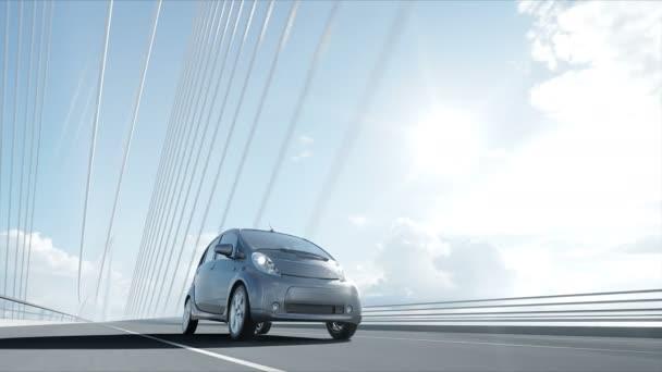 3D-Modell eines Elektroautos auf der Brücke, sehr schnelles Fahren. Ökologiekonzept. realistische 4k-Animation.