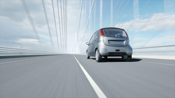 3D-s modellje az elektromos autó a hídon, nagyon gyors vezetés. Ökológia koncepció. Reális 4k animáció.