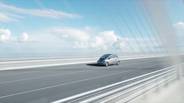 3d model of electric car on the bridge, very fast driving. Ecology concept. Realistic 4K animation.