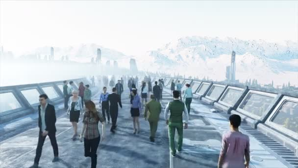 3d people in Sci fi tonnel. Traffic. Concept of future. Realistic 4K animation.