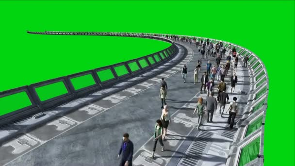 3D-Menschen im Science-Fiction-Tonnel. Verkehr. Zukunftskonzept. Green Screen Filmmaterial. realistische 4k-Animation.