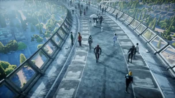 İnsanlar ve robotlar. Sci Fi Tonnel. Fütüristik trafik. Gelecek kavramı. Gerçekçi 4k animasyon.