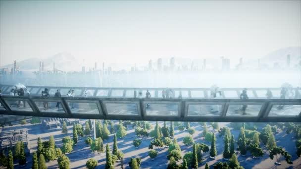Az emberek és a robotok. Sci-Fi. Futurisztikus forgalom. A jövő fogalma. Reális 4k animáció.