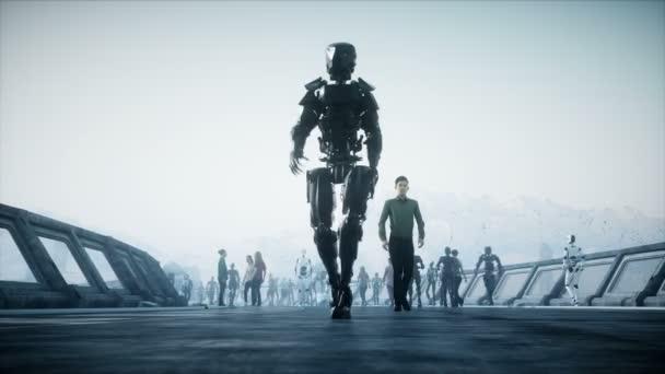 Persone e robot. Sci fi tonnel. Traffico futuristico. Concetto di futuro. Animazione 4k realistica.