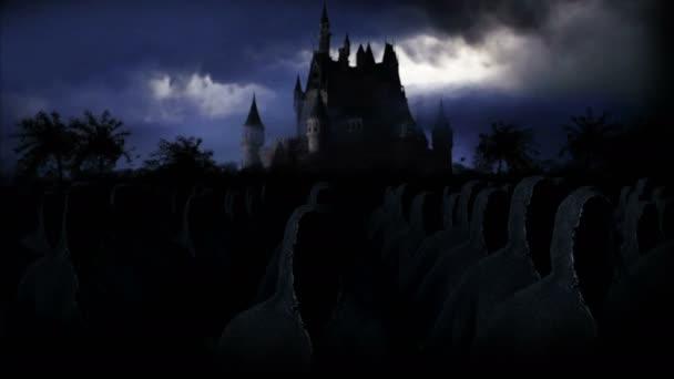 Tajemný temný hrad s duchy. Strach. Realistická animace 4k.