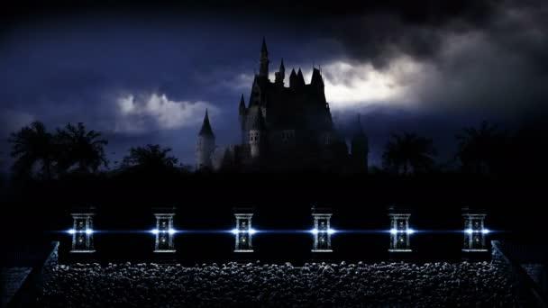 Tajemný temný hrad. Strach. Realistická animace 4k.