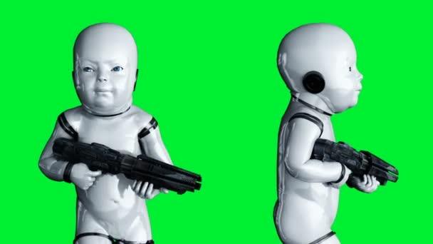 Dětská robotická animace. Phisical, motion, blur. Realistická 4k zelená animace obrazovky.