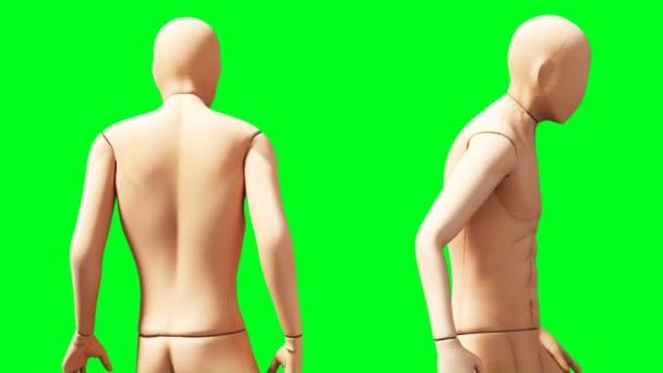 Falešná animace figuríny. Phisical, motion blur. Realistická 4k animace. Zelená obrazovka
