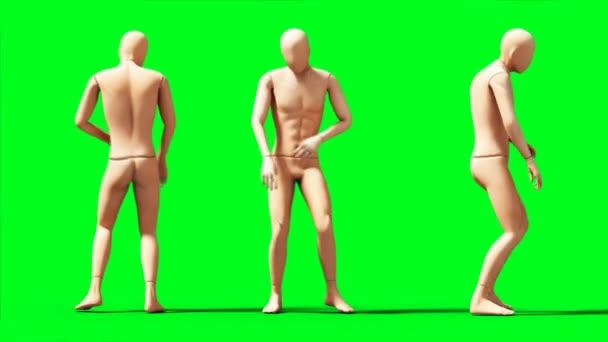 Buta, próbababa animáció. Fizikai, mozgás elmosódás. Realisztikus 4k animáció. Zöld képernyő
