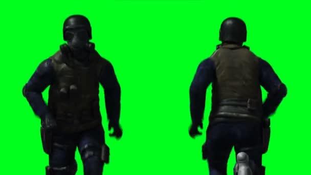 Militärische Soldatenanimation. Phisical, Bewegung, Unschärfe. Realistische 4k-Animation. Grüner Bildschirm