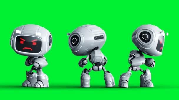 Naštvaná bílá hračka robot animace. Phisical motion blur. Realistická zelená obrazovka 4k animace. Zelená obrazovka