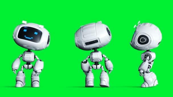 Fehér mosolygós játék robot animáció. Fizikai mozgás elmosódás. Realisztikus zöld képernyő 4k animáció. Zöld képernyő