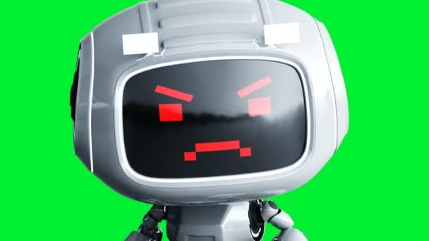 Dühös fehér játék robot animáció. Fizikai mozgás elmosódás. Realisztikus zöld képernyő 4k animáció. Zöld képernyő