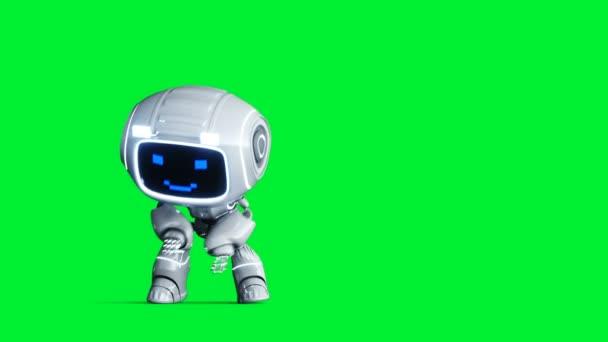 Bílý usmívající se robot animace. Phisical motion blur. Realistická zelená obrazovka 4k animace. Zelená obrazovka